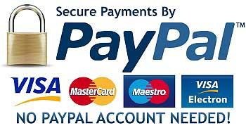 Secure payments by Paypal. No Paypal account neeeded